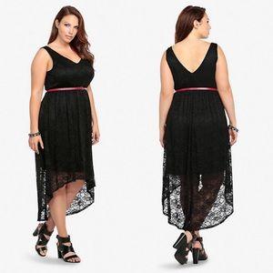 Torrid Black Lace High Low Dress Size 12